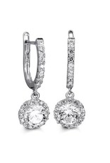 10K White Gold Dangle CZ Earrings