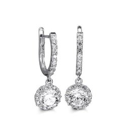 10K White Gold Dangle Halo CZ Earrings