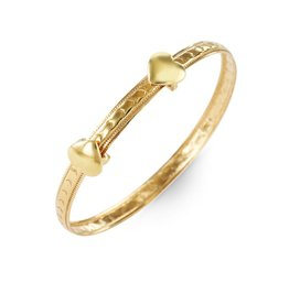 10K Yellow Gold Flexible Baby Bangle Hearts