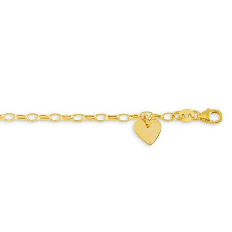 10K Yellow Gold Baby Bracelet with Dangle Heart