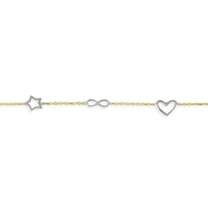 10K Yellow and White Gold Baby Symbolic Bracelet