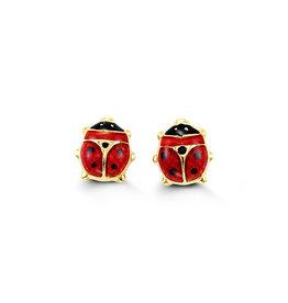 10K Yellow Gold Red Enamel Baby Ladybug Earrings