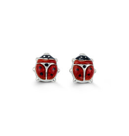 10K White Gold Red Enamel Baby Ladybug Earrings