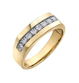 Yellow Gold Mens Ring with Channel Set Diamonds (0.50ct)