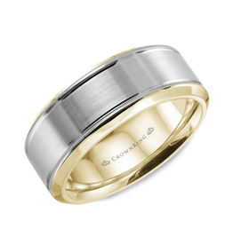 Crown Ring Bevelled (7mm) White and Yellow Gold Band
