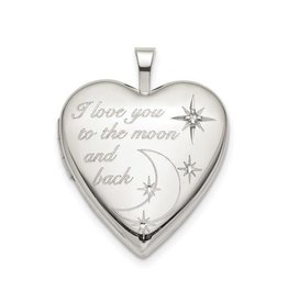 Sterling Silver LOVE TO THE MOON Diamond Heart Locket