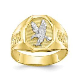 Yellow and White Mens Gold Eagle Ring