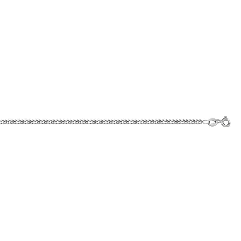 10K White Gold (1.0mm) Curb Baby Chain 14""