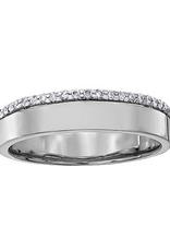 (10K, 14K, 18K) White Gold (0.12ct) Diamond Wedding Band