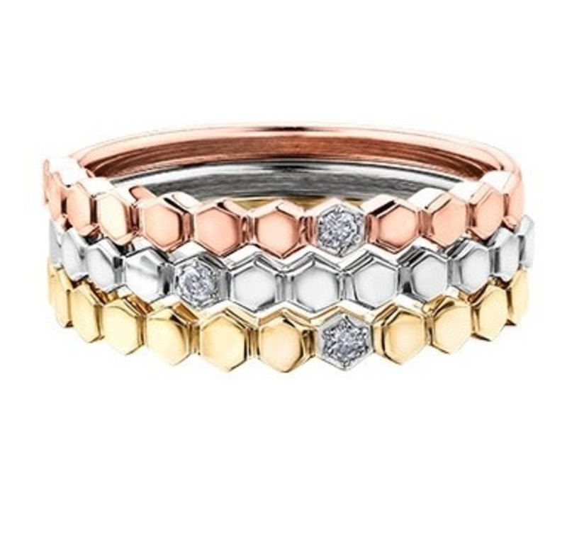 Rose Gold (0.015ct) Diamond Stackable Band