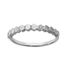 10K White Gold (0.01ct) Diamond Stackable Band
