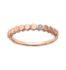 10K Rose Gold (0.015ct) Diamond Stackable Wedding Band
