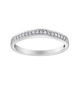 10K White Gold (0.11ct) Diamond Stackable Wedding Band