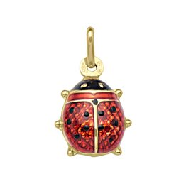 Yellow Gold (12mm) Red Enamel Ladybug (10K,18K) Pendant