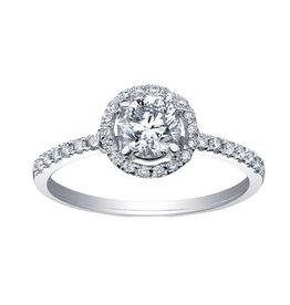 Maple Leaf Diamonds 18K Palladium White Gold Maple Leaf (0.70ct) Canadian Diamond Halo Engagement Ring