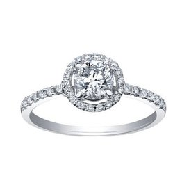 Maple Leaf Diamonds 18K White Gold (0.70ct) Halo Canadian Maple Leaf Diamond Ring