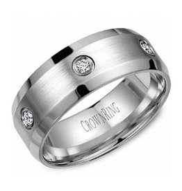 Crown Ring White Gold (0.24ct) 8mm Bezel Set Diamond Band (10K, 14K,18K)