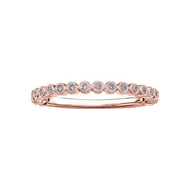 (10K ,14K, 18K) Rose Gold (0.10ct) Diamond Stackable Wedding Band