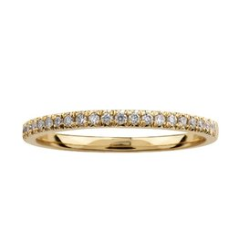 10K Yellow Gold (0.10ct) Pavee Set Diamond Stackable Wedding Band