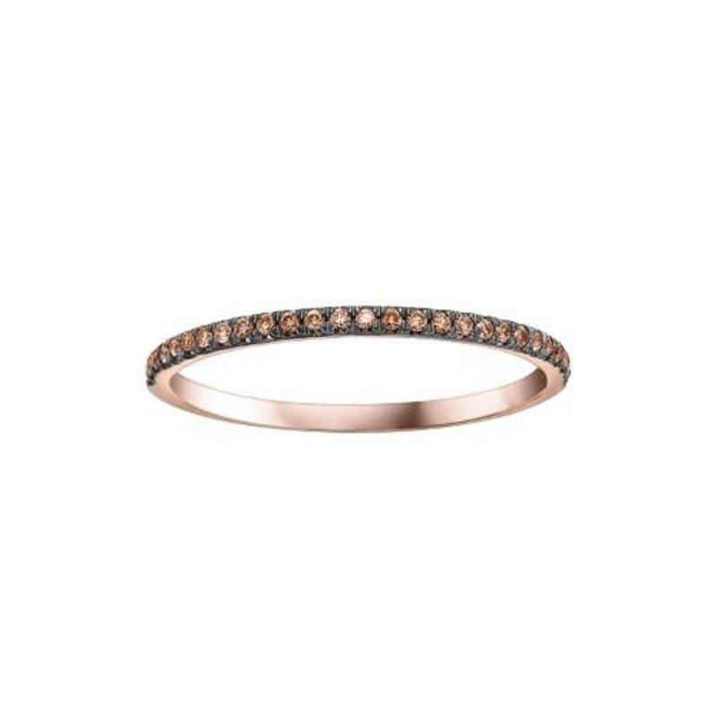 10K Rose Gold (0.10ct) Brown Natural Diamond Stackable Wedding Band