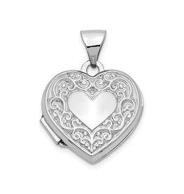 14K White Gold Fancy Heart Locket