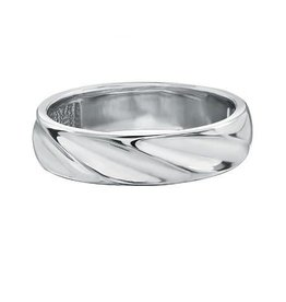 10K White Gold Mens (5mm) Fancy Band