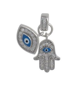 Silver Evil Eye and Hamsa CZ Rhodium Plated Pendant