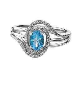 Birthstone Diamond Ring Sterling Silver Blue Topaz December