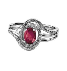 January Birthstone Garnet Sterling Silver Diamond Ring