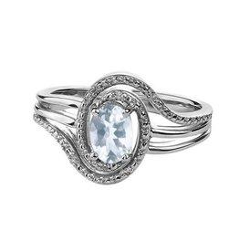 March Birthstone Aquamarine Sterling Silver Diamond Ring