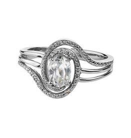 April Birthstone White Topaz Sterling Silver Diamond Ring