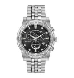 Citizen Citizen Crystal Men's Eco Drive Silver Tone Black Dial Chronograph Watch