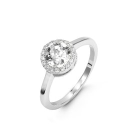 Swarovski Sterling Silver CZ Halo Ring