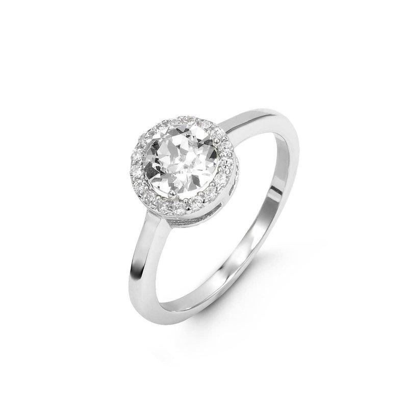 Swarovski Sterling Silver CZ Halo Ring