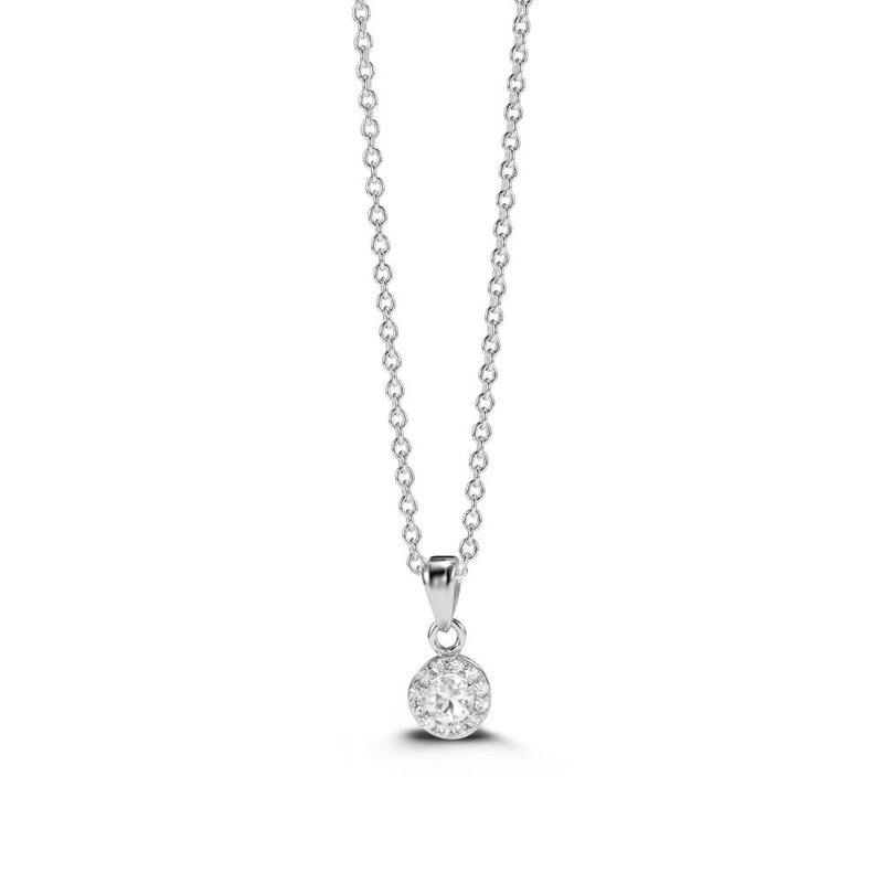Sterling Silver CZ Halo Necklace
