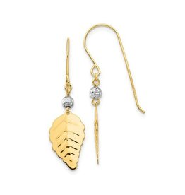 14K Yellow and White Gold Leaf Dangle Earrings