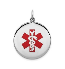 Sterling Silver (25.3mm) Medical ID Pendant