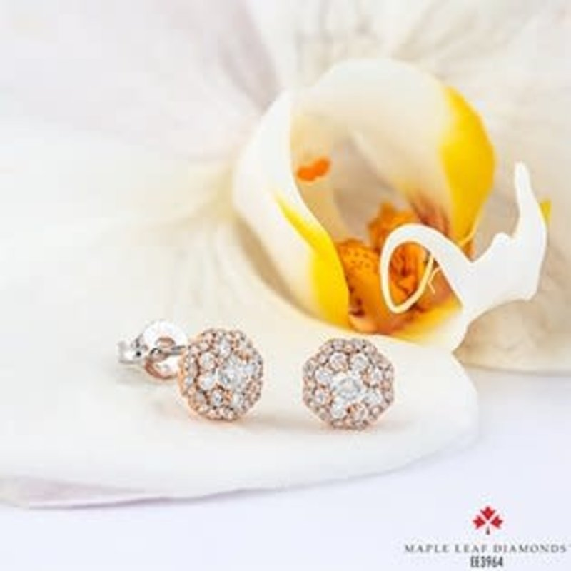 Rose Gold Double Halo (0.18ct) Cluster Canadian Diamond Stud Earrings