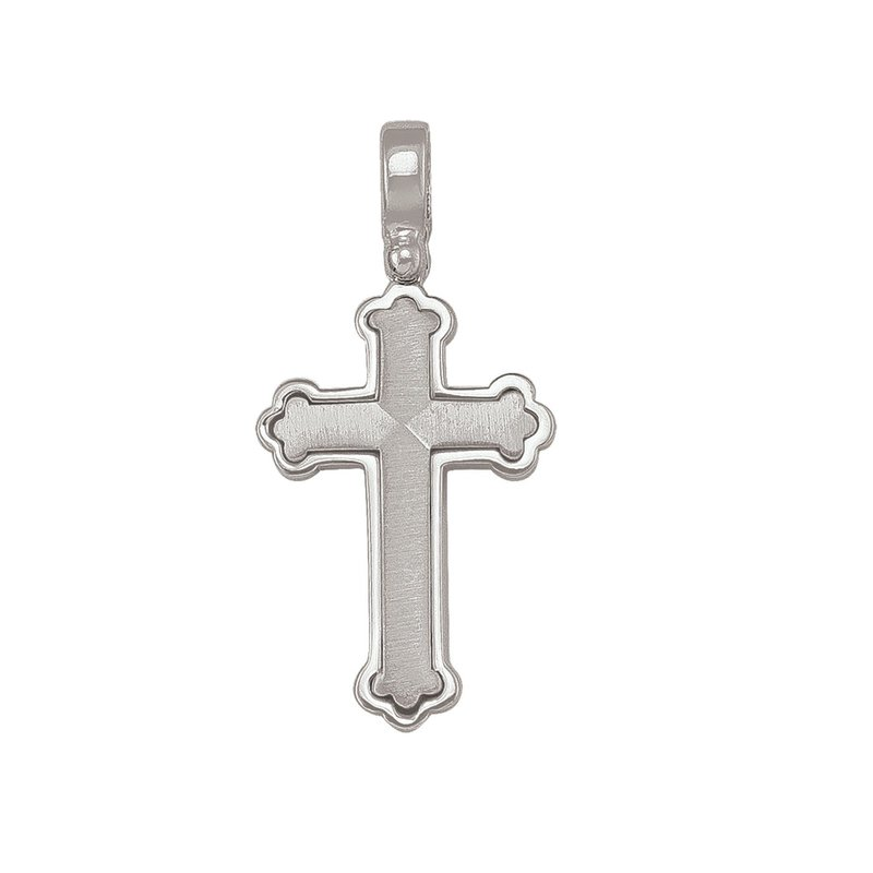 Sterling Silver Fancy Brushed and High Polished Cross Pendant