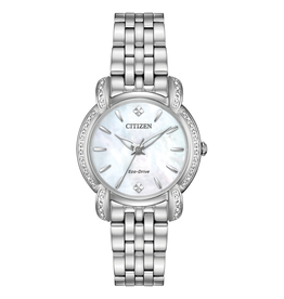 Citizen Citizen Jolie Ladies Eco Drive Silver Tone Diamond and Mother of Pearl Dial Watch