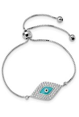 Sterling Silver CZ Blue Enamel Evil Eye Adjustable Bracelet