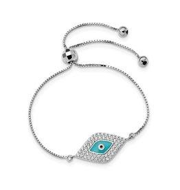 Sterling Silver CZ Blue Enamel Evil Eye Adjustable Bracelet