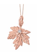 10K Rose Gold Maple Leaf (0.028ct) Canadian Diamond Pendant