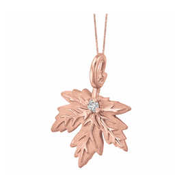 10K Rose Gold (0.028ct) Canadian Diamond Maple Leaf Pendant