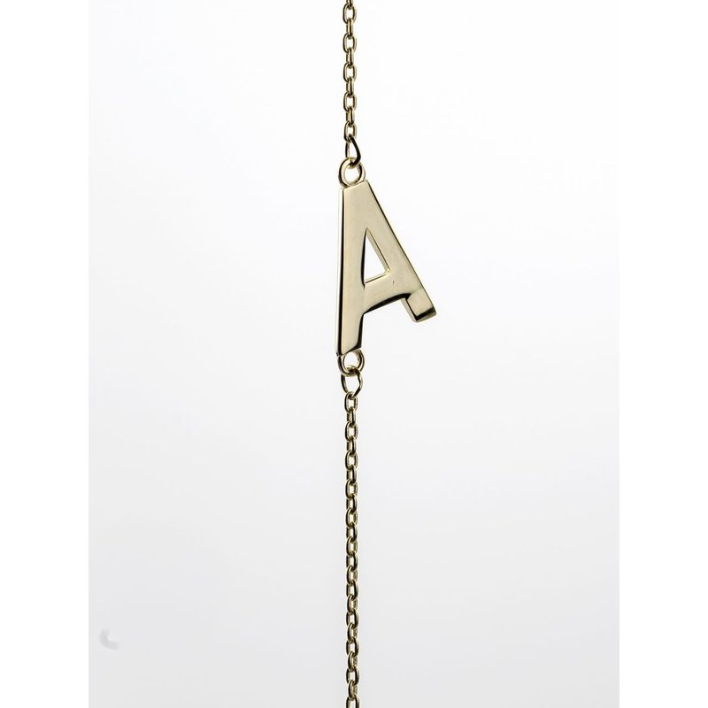 10K Yellow Gold Initial A Side Necklace