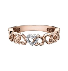 10K Rose Gold Heart (0.03ct) Diamond Stackable Band