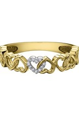 10K Yellow Gold (0.03ct) Diamond Stackable Heart Band