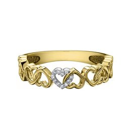 10K Yellow Gold Heart (0.03ct) Diamond Stackable Band