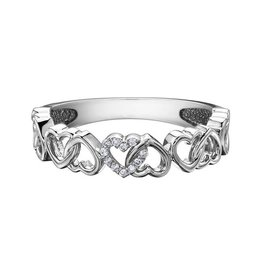 10K White Gold Heart (0.03ct) Diamond Stackable Band