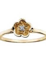 10K Yellow Gold 3D Flower (0.01ct) Diamond Ring